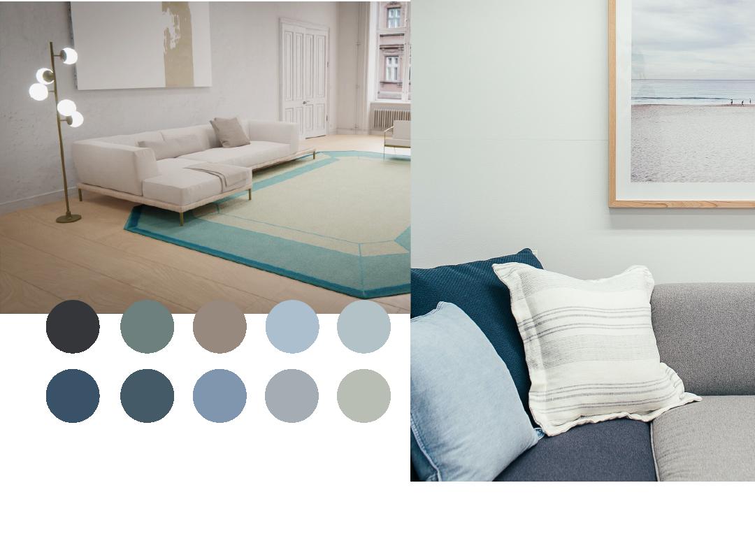 imagen con paleta en colores azules decoracion interior